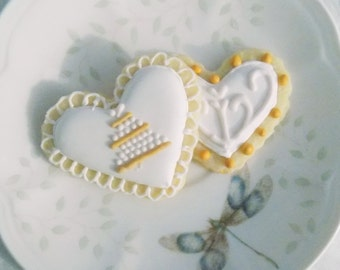 Mini heart sugar cookies