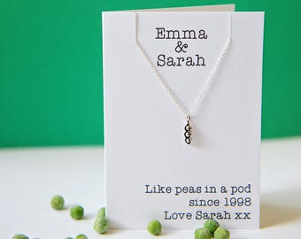 Sterling silver peas in a pod necklace