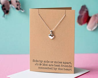 Side by Side heart necklace - Sister, Cousin, Best friend etc