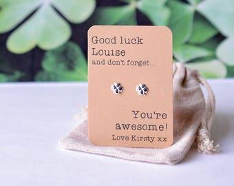 Good luck personalised earrings