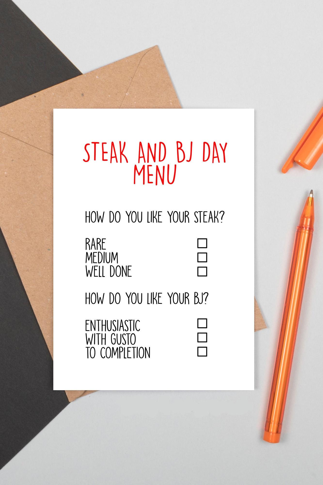 Steak und BJ Tag Blowjob Blow Job Männer männliche Valentinstag 14.