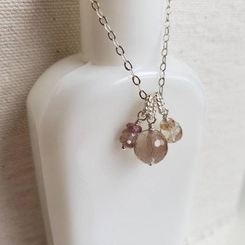 Oregon Sunstone and Peach Sapphire Necklace \u2022 Necklace \u2022 Gemstone Necklace \u2022 Dainty \u2022 Minimal \u2022 Minimalist \u2022 Sterling Silver