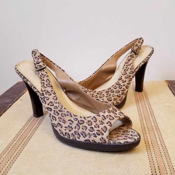 47c034f9686 WORTHINGTON Tan   Brown Leopard Print Peep Sling Pumps Size
