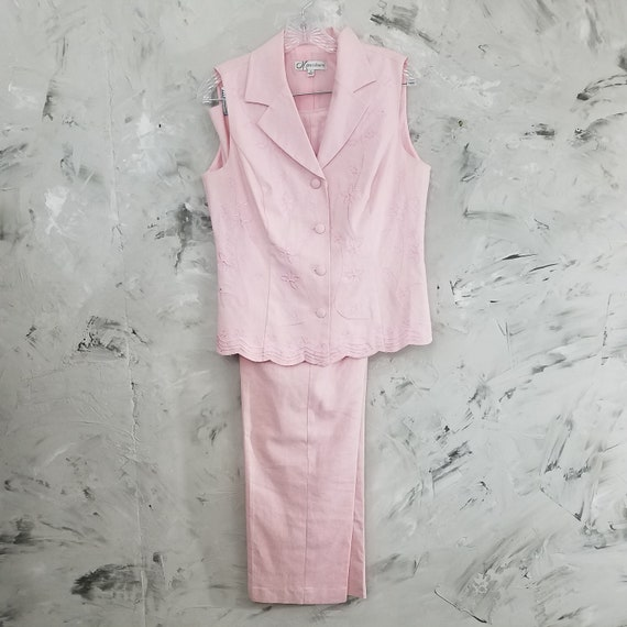 DRESSBARN Powder Pink Linen Pant Suit - Size 10 -… - image 2