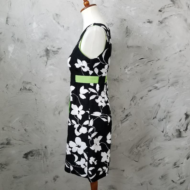 Black White Green Sheath Dress Size 4 Petite Vintage 90/'s K PETITE Black Cute Summer Dress Green Floral Print Sundress White
