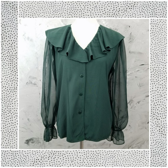 MIRRORS 80's Vintage Forest Green Ruffled Blouse -