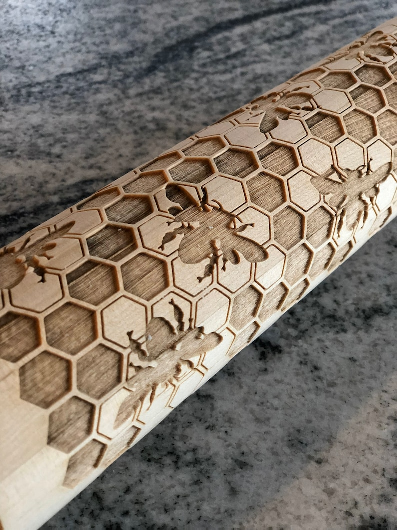 holiday themed laser engraved rolling pin Honey Bee MADE IN OKLAHOMA Honeycomb