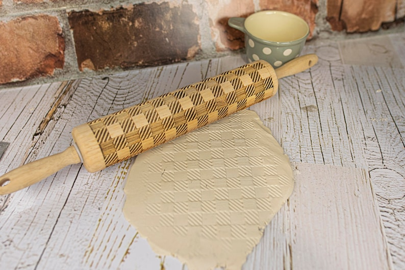 MADE IN OKLAHOMA holiday themed Buffalo Plaid laser engraved rolling pin