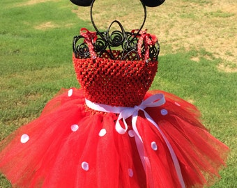 Minnnie Mouse Inspired tutu dress, Halloween tutu costume