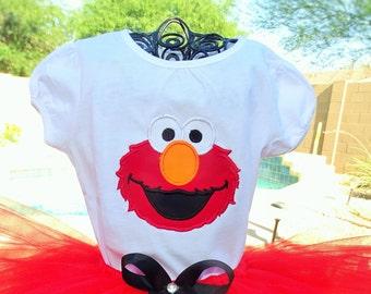Personalzed Elmo from Sesame Street Birthday shirt only.