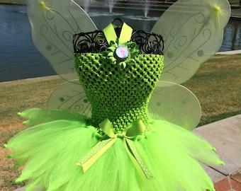 Tinkerbell Inspired tutu dress, Halloween tutu costume