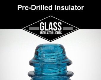 Pre-Drilled Glass Insulator For DIY Insulator Lights  - Blue Hemingray 42