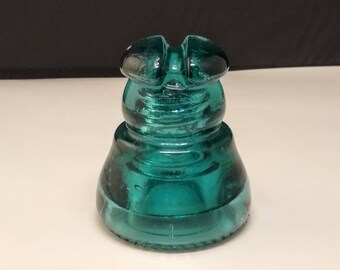 Postal Telegraph Glass Insulator -  CD 210 - Saddle Grove - Green Aqua USPS Insulator