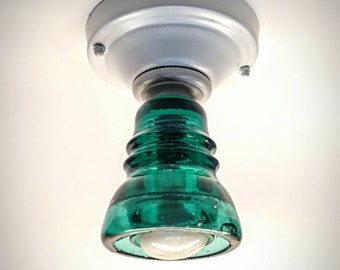 Bathroom Ceiling Light - Glass Insulator Lights - White Flush Mount Ceiling Lighting - Brookfield Insulator
