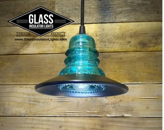 Authentic Glass Insulator Lights - Hemingray 40 Railroad Insulator Light - 120v - UL Listed LED