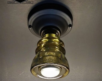 Flush Mount Ceiling Light - Glass Insulator Light - Armstrong Insulator Light - Flush Mount Hall Light Bathroom Light