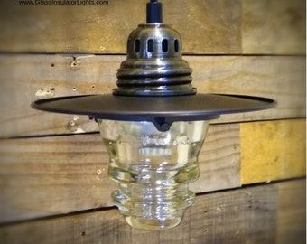 Pendant Lights - Upcycled Glass Insulator Lights - Industrial Farmhouse Hanging Pendant Lights
