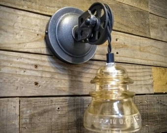 Pulley Wall Sconce - Glass Insulator Light - Vintage Pulley Light - Industrial Lighting