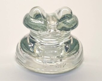 Hemingray D 512 Glass Insulator -  Frog Eyes - Ice Blue