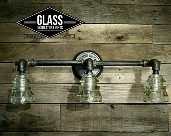"23"" Vanity Light - Glass Insulator Light - Glass Insulator Wall Sconce - Bathroom Light - Pipe Light - Industrial Lighting"
