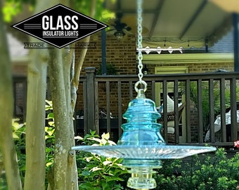 Glass Bird Feeder - Hanging Glass Bird Feeder Hanging Glass Insulator Bird Bath - Reclaimed Glass Insulators BirdBath Bird House Insulators