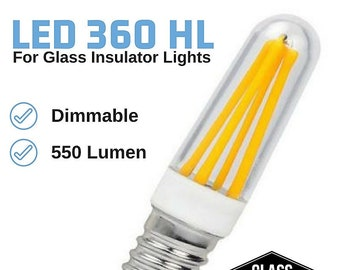Glass Insulator Light Bulb - Dimmable LED 360 Bulbs - LED Bulb for Insulator Lights - E12 Candelabra - Bright High Lumen Bulbs