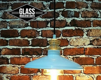 Industrial Lighting - Industrial Pendant Light - Farmhouse Lighting - Industrial Lighting Ceiling - Barn Light - Glass Insulator Light Shade