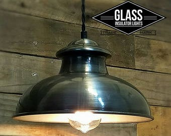 Train Station Light - Pendant Light - Industrial Lights - Kitchen Lights - Island Lighting - Light Fixture - Glass Insulator Light Kitchen