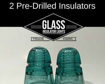 2 Pre Drilled Glass Insulators for DIY Insulator Lights