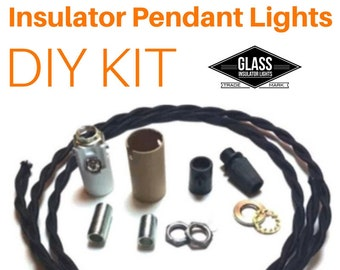 DIY Glass Insulator Pendant Light Kit - Insulator Light Parts - Glass Insulator Lights DIY