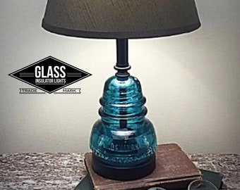 Glass Insulator Lamp - Insulator Lamp - Insulator Light - Blue Hemingray Rustic Lamps