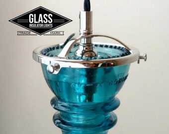Pendant Light - Glass Insulator Light - LED Glass Insulator Pendant Light - Telagraph Insulator Lights - Hemingray Blue