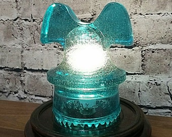 Glass Insulator Lamp - Glass Insulator Table Lamp - Glass Insulator Decor - Glass Insulator - Glass Insulator Holder - LED Lamp -