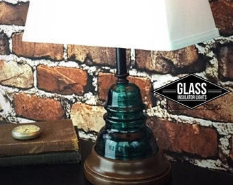 Unique Insulator Lamp - Glass Insulator Farmhouse Lamp- Farmhouse Decor-Insulator Light - Blue Hemingray