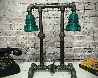 Pipe Lamp / Pipe Lighting  / Industrial Lamp / Glass Insulator / Insulator Light / Glass Insulator Lamp / Pipe Lighting Steampunk Lamp