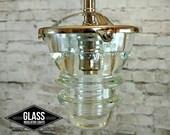 Glass Insulator Pendant Light - LED Insulator Pendant Light - Vintage Telegraph Insulator
