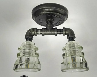 Flush Mount Ceiling Light - Glass Insulator Light - Industrial Lighting Chandelier - Ceiling Lamp - Industrial Ceiling Canopy - Pipe Light