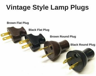 Vintage Lamp Parts - Lamp Plugs - Lamp Parts - Antique Lamp Parts - Black Brown White - UL Listed Lamp Part