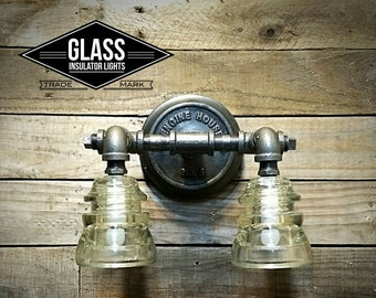"Bathroom Vanity Light - 10"" Glass Insulator Light - Industral Farmhouse Wall Sconce 120v"