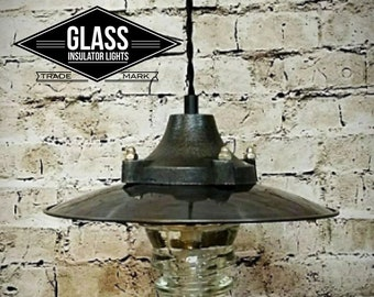 Pendant Light - Industrial Pendant Light - Metal Industrial Shade - Glass Insulator Light - Pipe Light -  Insulator Light
