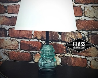Glass Insulator Lamp - Icy Blue Insulator Lamp -Glass Insulator Light - Rustic Lamps