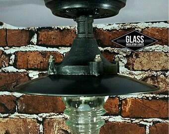 Flush Mount Ceiling Light Industrial Framhouse Insulator Light - LED Glass Insulator Light