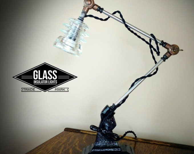 Featured listing image: Industrial Lamp - Adjustable Desk Lamp - Steampunk Lamp - Industrial Lighting - Glass Insulator Light -  Machine Age Warehouse look