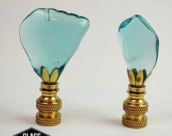Glass Insulator Lamp Finial - Seaglass Lamp Finials