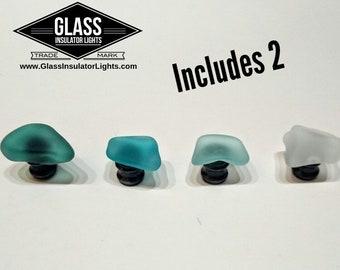 2 Sea Glass Drawer Pulls - Sea Glass Drawer Knobs - Sea Glass Decor - Beach Glass
