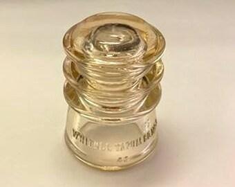Whitall Tatum No. 3 Glass Insulator -  CD 115 - Peach Glass - Exchange Line Insulator