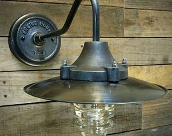 Industrial Wall Light - Metal Industrial Shade - Glass Insulator Light - Pipe Light - Industrial Lighting Steampunk Barn Lighting Sconce