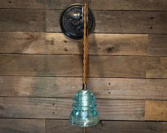 Industrial Plug In Wall Sconce - Pulley Light - Glass Insulator Light