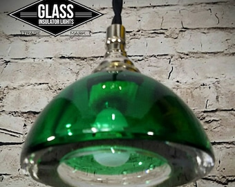 Pendant Light - Glass Pendant Light - Custom Light - Vintage Glass - Green Pendant Light w/ Nickel - Kitchen Light - Custom Lighting