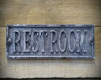 Vintage Restroom Sign - Restroom Decor - Cast Metal Plaque